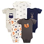 Hudson Baby Baby Preemie Bodysuit, 5 Pack, Forest Short Sleeve,