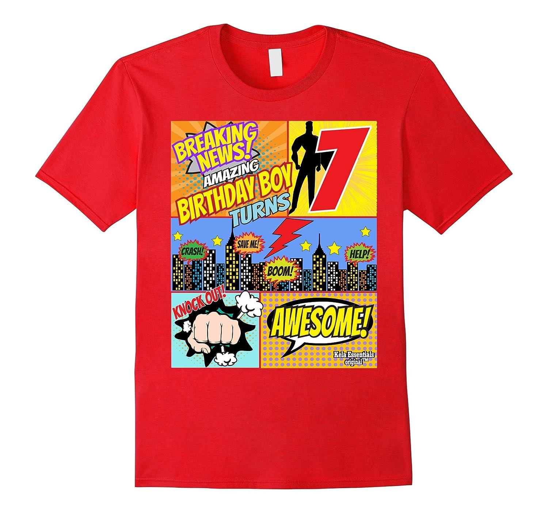 Superhero Birthday Shirt Boys 7 Amazing Awesome Super TD Teedep