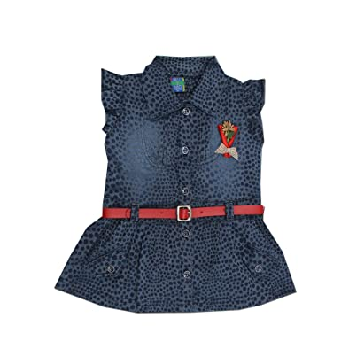 3c77bdddcb Kid s Care Party Wear Denim Jeans Frock Dress for Baby Girl Infant-Denim  Jeans (DD866)  Amazon.in  Clothing   Accessories