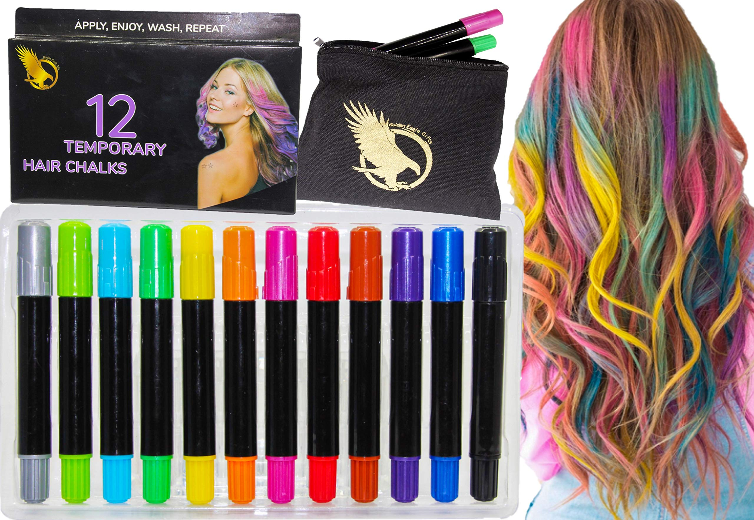 Hair Chalk Pens, 12 Color temporary hair color, top package hair dye Hair Color, Safe For kids gifts teen for Party Cosplay Halloween Makeup, kid coloring, dye, salon colored, hairchalk kits, with bag by Golden Eagle Gifts