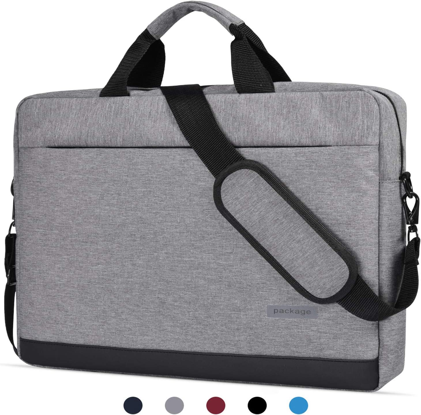 "15.6 Inch Laptop Shoulder Bag Messenger Bag Waterproof Notebook Case Compatible with Acer Chromebook 15/Acer Predator Helios 300, Lenovo Yoga 730 15.6"", MSI ASUS LG Acer HP 15.6 inch Laptop Bag,Grey-2"