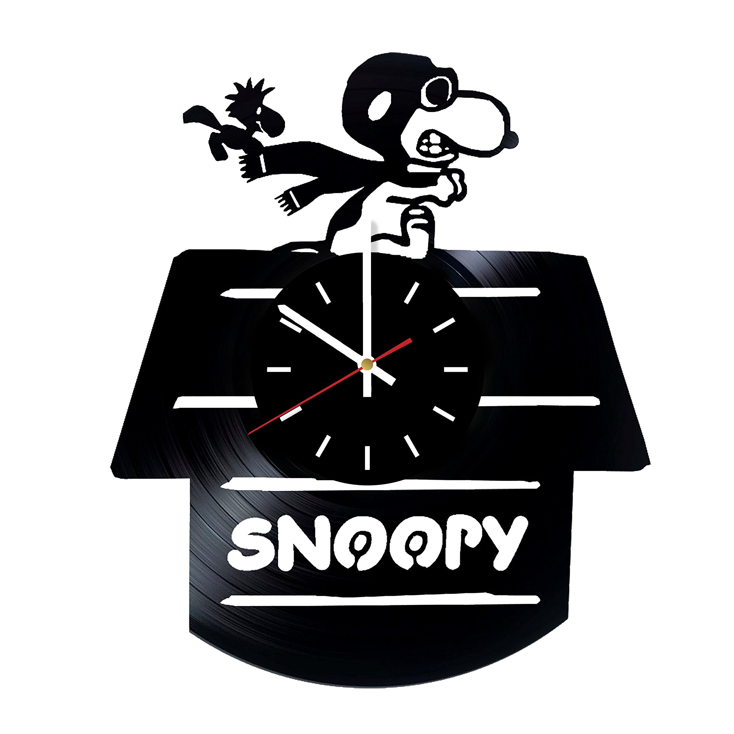 Everyday Arts Snoopy Piloting His World War I Sopwith Camel Design Vinyl Record Wall Clock - Get Unique Bedroom or Garage Wall Decor - Gift Ideas for Friends, Brother - Darth Vader Unique Modern Art