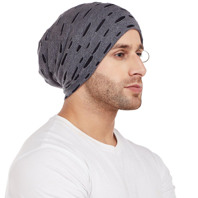 7c7b70d2dc4 Vimal Black Torn Look Beanie Cap For Men  Amazon.in  Clothing   Accessories
