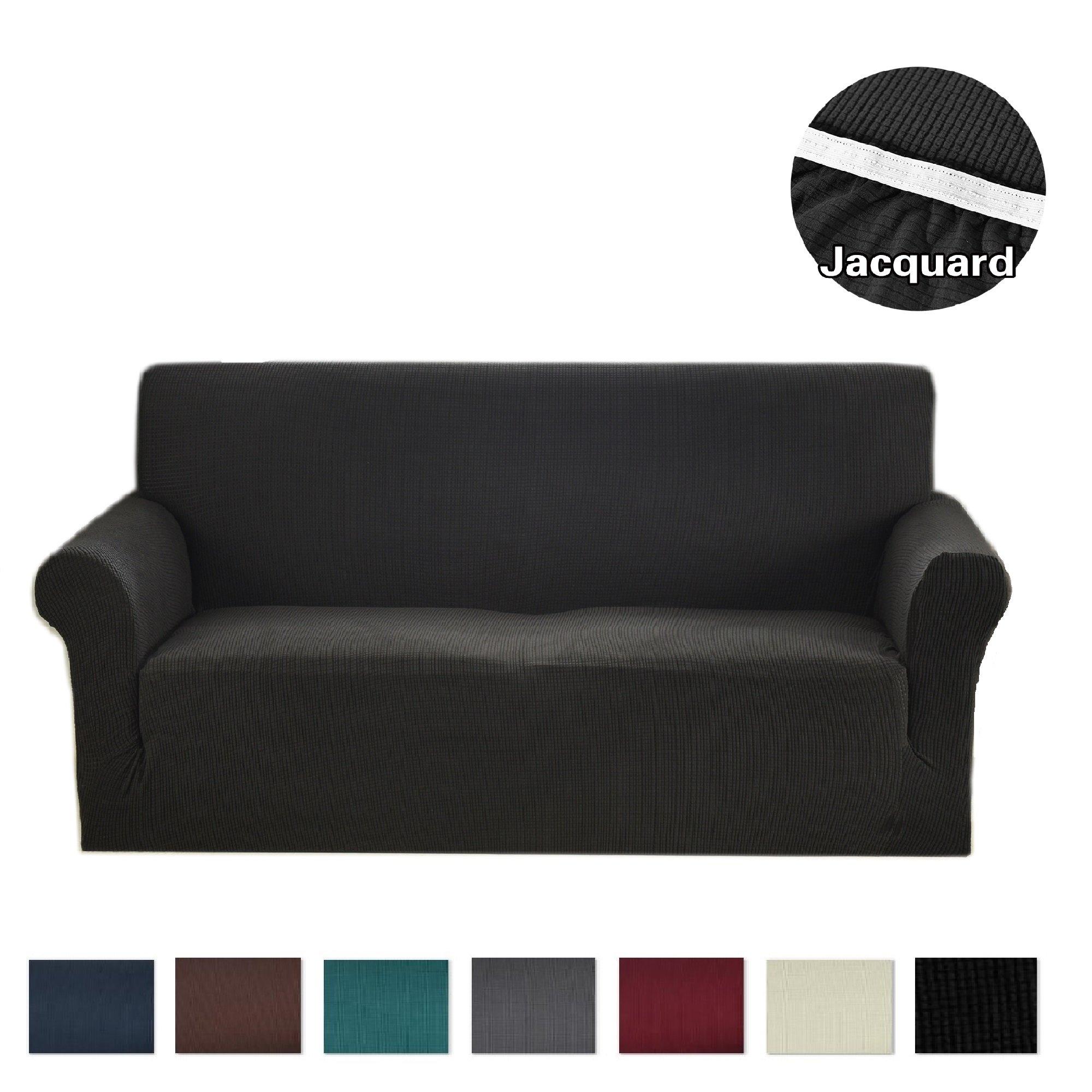 Argstar Jacquard Sofa Slipcover (Extra Large) Black
