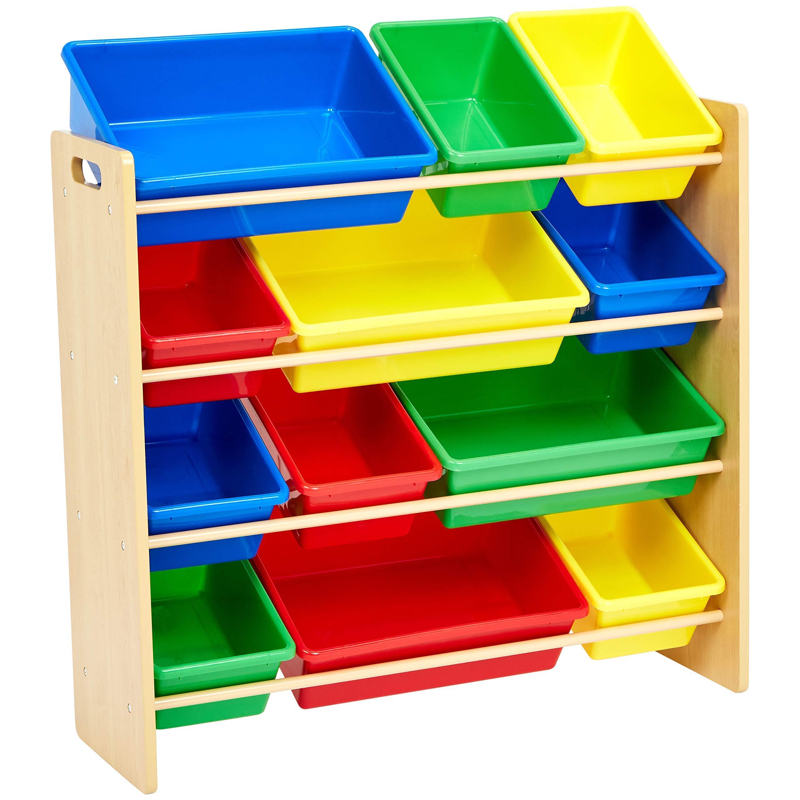 AmazonBasics Kids Toy Storage Organizer Bins - Natural/Primary (Renewed) by AmazonBasics