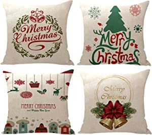 """YZEECOL Christmas Pillow Covers Merry Christmas and Reindeer Santa Clause Design Xmas Tree Decorations for Home Decor Farmhouse Buffalo Plaid Cushion Cover Throw Pillow Covers 18""""x18"""" Set of 4 Green"""