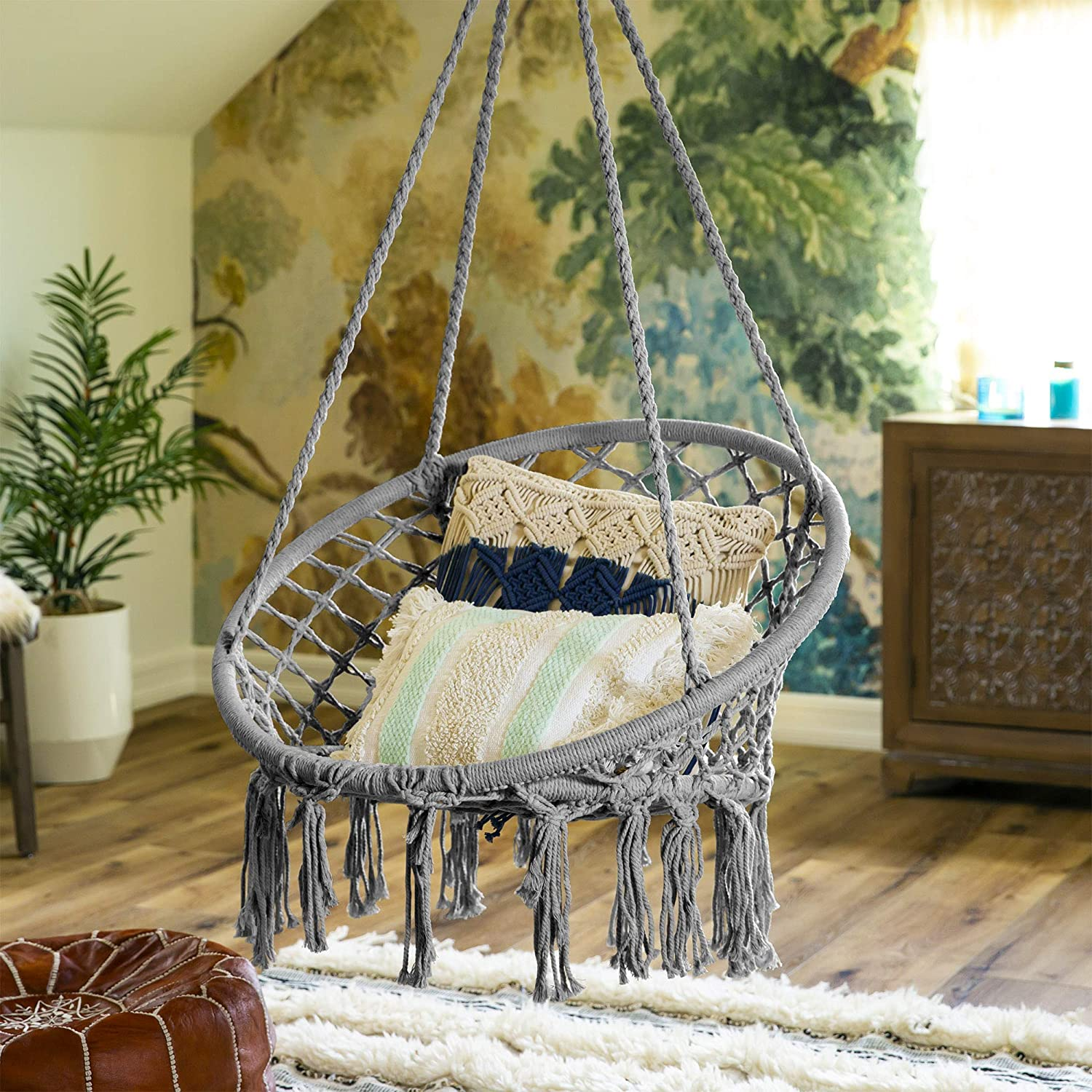 Best Choice Products Indoor Outdoor Hanging Cotton Macrame Rope Hammock Lounge Swing Chair w Fringe Tassels – Gray