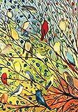 Toland Home Garden Tree Birds 28 x 40 Inch Decorative Colorful Summer Fall Autumn Bird Collage House Flag