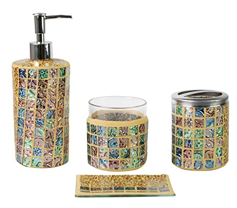 SkyMoving Luxury Bathroom Accessories Set, 4 Piece Mosaic Glass Luxury  Bathroom Gift Set,