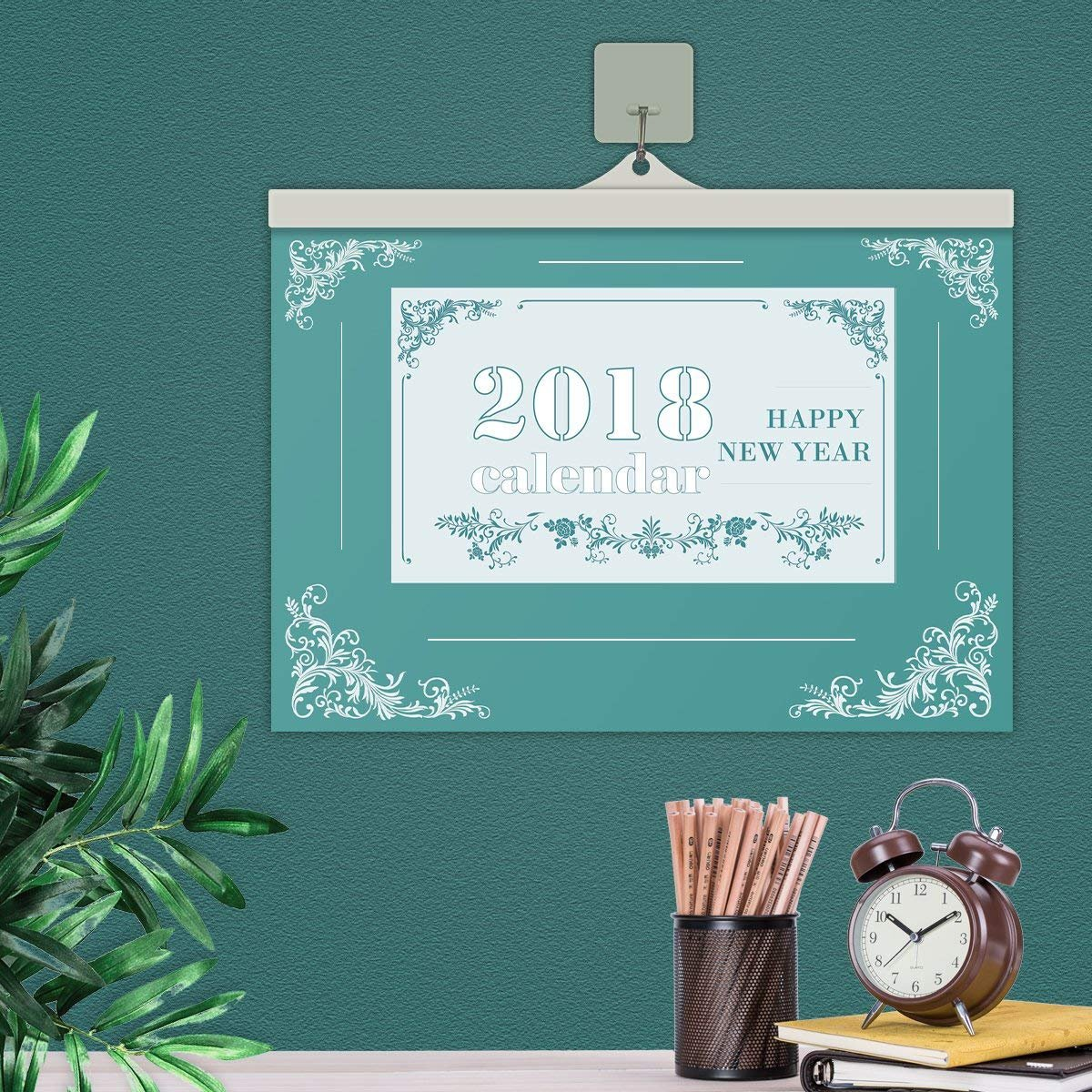 VemMore Calendario 2018 Pared Annual 12 Meses 365 Diario Series Vertical Oficina Familia Nevera Calendar (Verde)  + 1 x Gancho