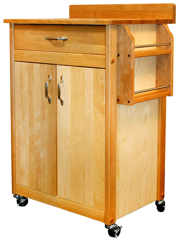 Catskill Craftsmen Butcher Block Cart with Flat Doors and Backsplash