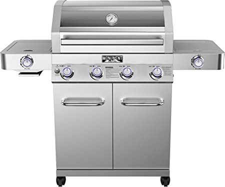 Monument Grills 4-Burner with Side Sear Burner - Clearview Lid