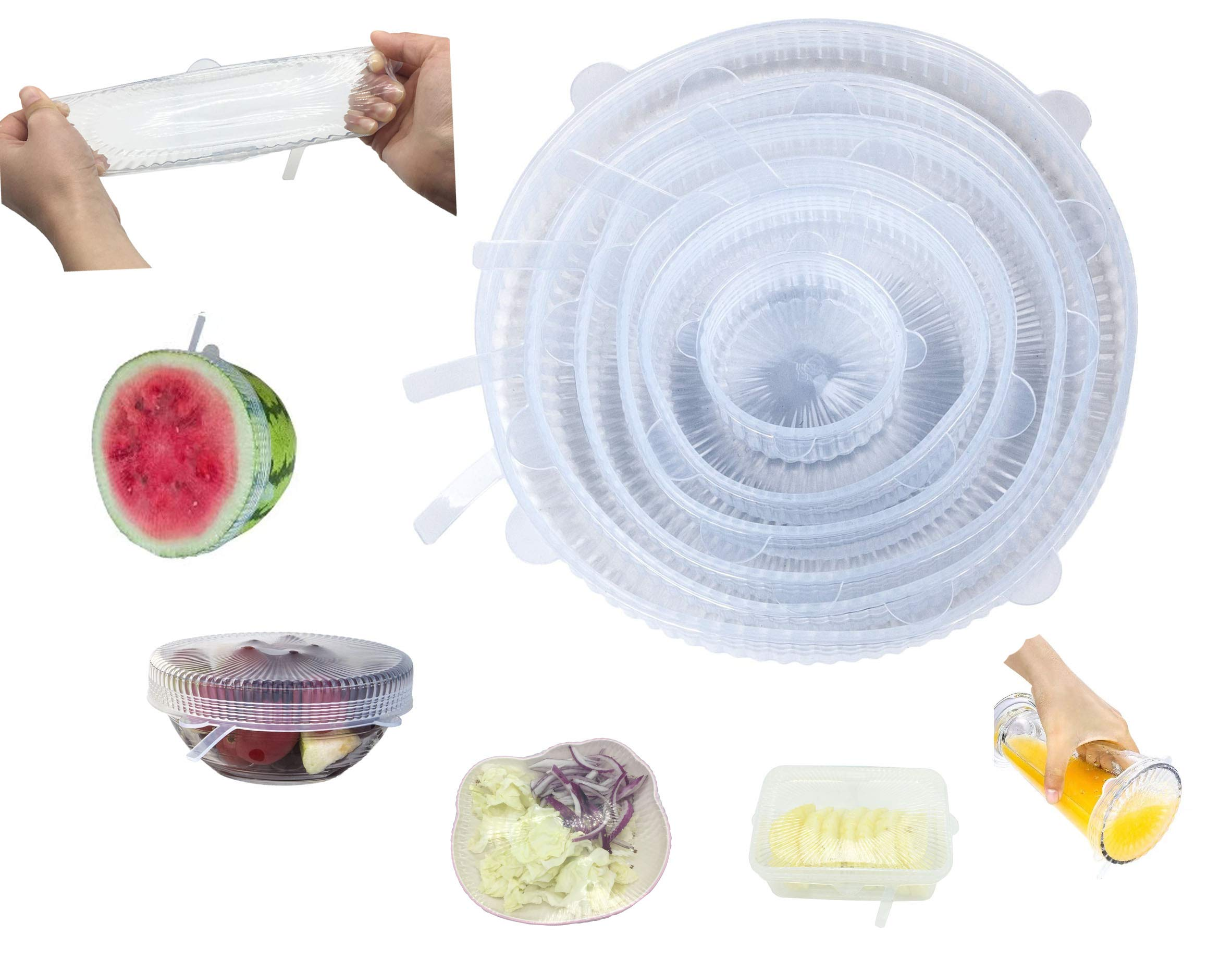 Silicone stretch lids, 6 pack, Easy to stretch, Airtight Perfectly, Fits Various Sizes and shapes of Containers, Superior for Keeping Food Fresh