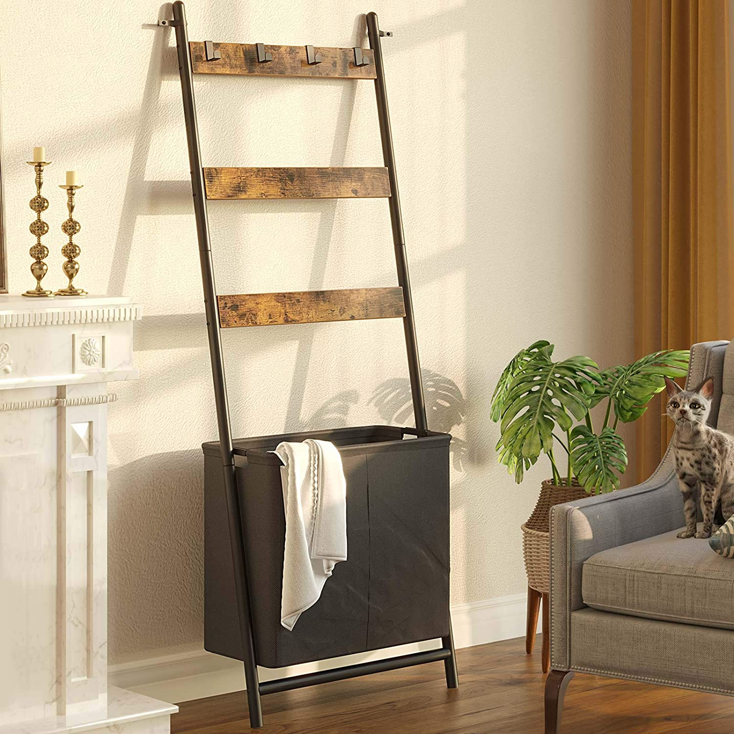 Rolanstar Ladder Shelf for Blanket, Wall-Leaning Blanket Rack with a Storage Basket and 4 Hanging Hooks, 3-Tier Farmhouse Leaning Shelf for Bathroom, Living Room,Rustic Brown