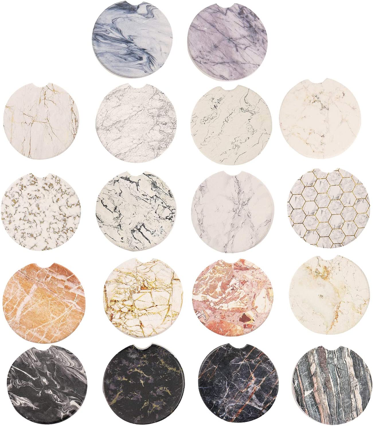 Amazon Com Set Of 18 Absorbent Marble Ceramic Car Coasters For Cup Holder With A Finger Notch For Easy Removal Of Auto Cup Holder Stone Coaster Best Accessory Keep Vehicle Free From Cold