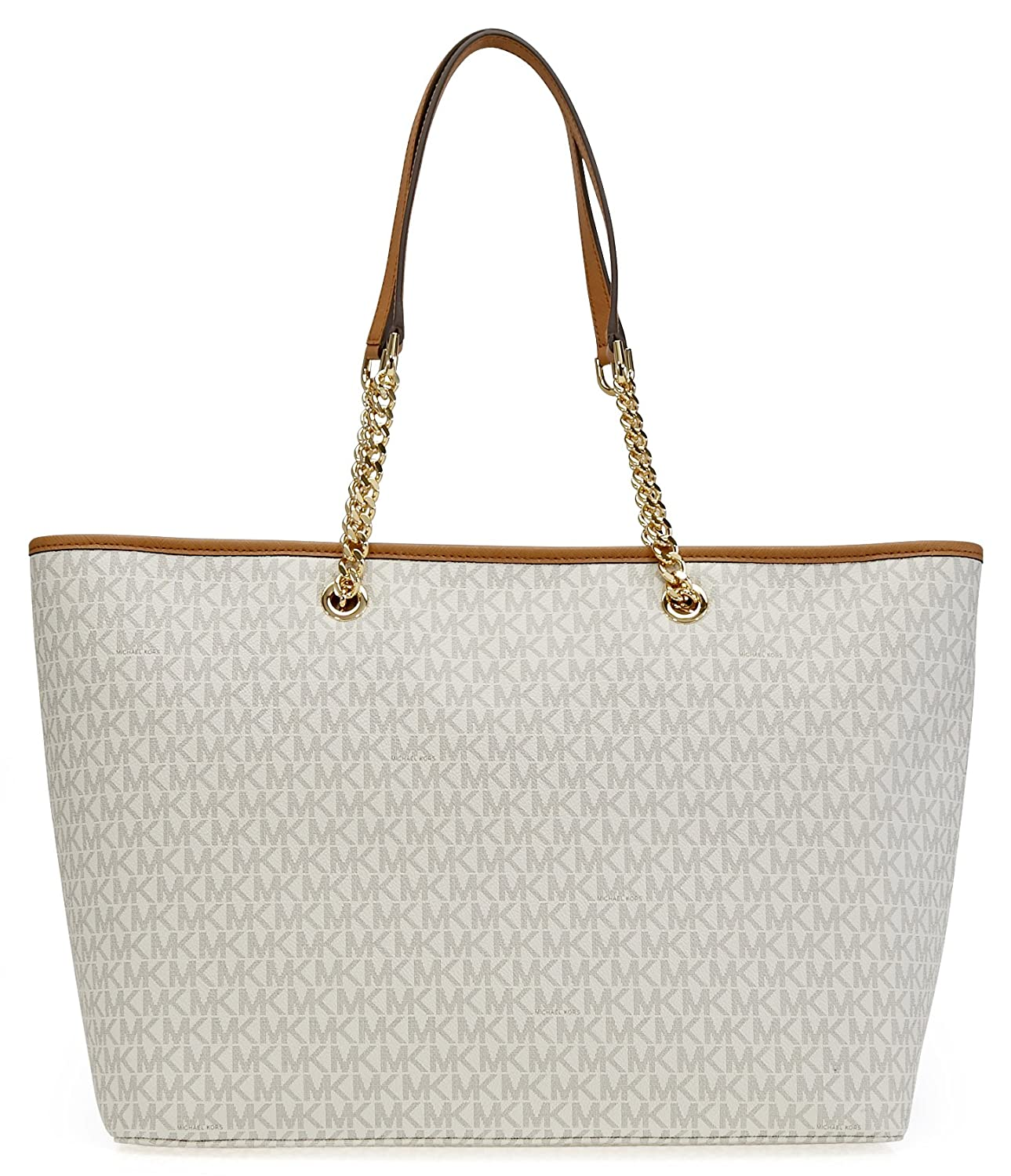 fb1d60b52bce Michael Kors Jet Set Travel Chain Signature Tz Tote Vanilla: Handbags:  Amazon.com