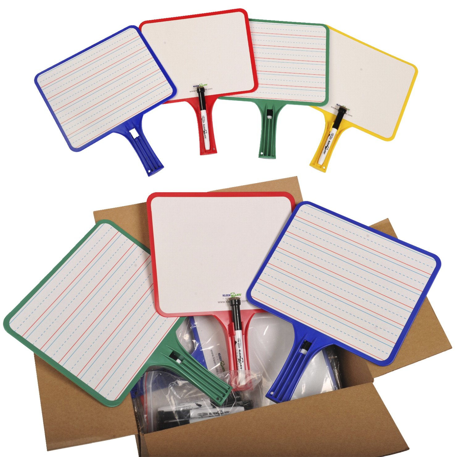 KleenSlate KLS50027051 Hand Held Dry Erase Rectangular Paddle Classroom Kit, Blank/Handwriting (Pack of 32)