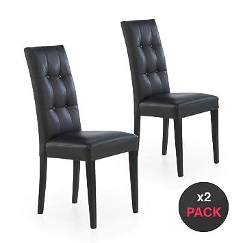 dicoro Pack 2 sillas tapizadas Cloe 4 Patas Madera (Negro, 47 ...
