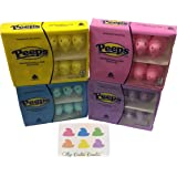 Peeps Candy & Stickers Variety Pack - Yellow, Pink, Blue, & Purple (10 Ct. Each Color) (40 Ct. Total) Plus Limited Edition Peeps Inspired Stickers