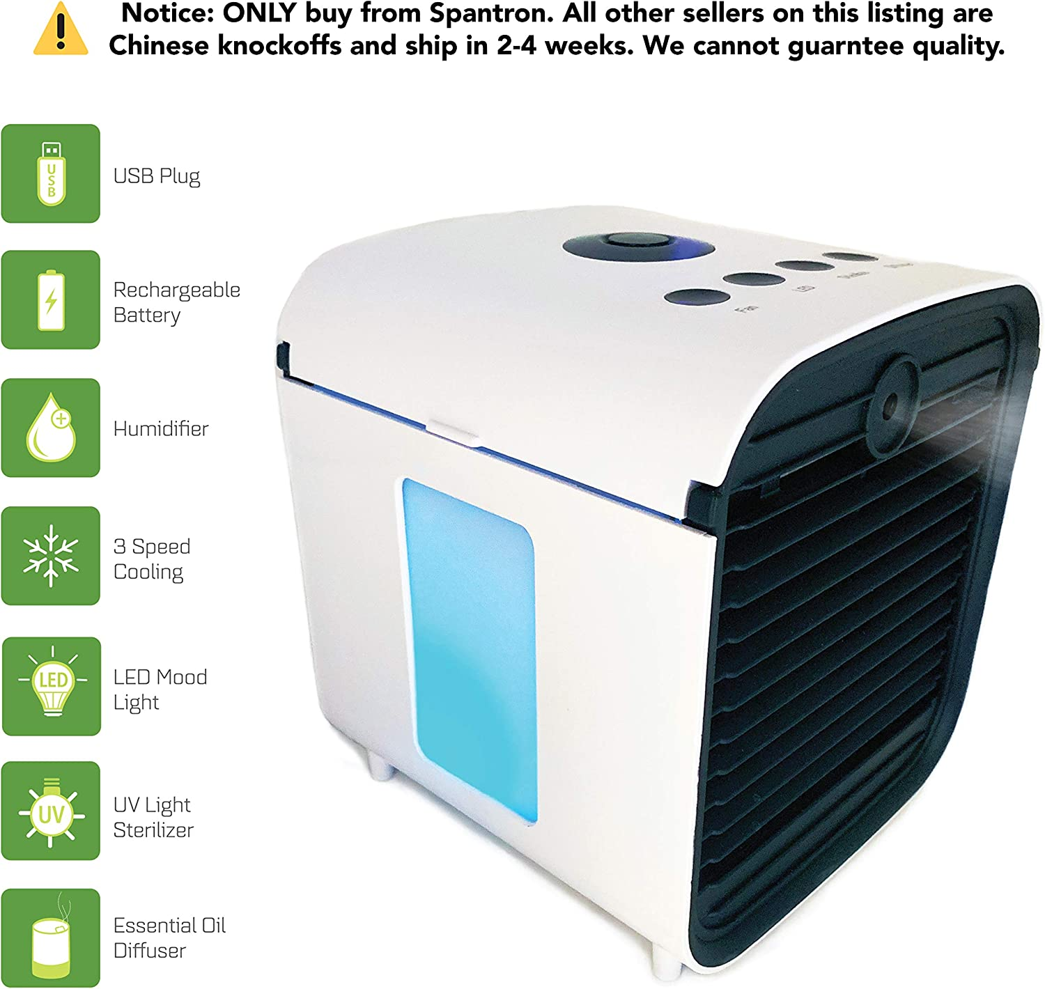 Spantron Portable Air Conditioner Fan - Best 5-in-1 Personal Home & Office Desk Swamp Cooler, Mist Diffuser, Humidifier with LED Light and UV Purifier   USB Plug & 2 Hour Rechargeable Battery