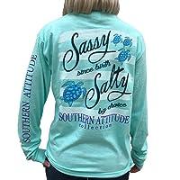 Southern Attitude Salty by Choice Sea Turtles Sea Foam Green Long Sleeve Women's Shirt