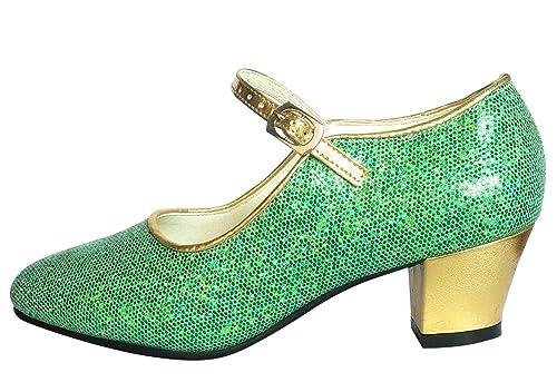 0adf4ee09699f La Senorita Anna Frozen Shoes, Spanish Flamenco Shoes - Green Gold ...