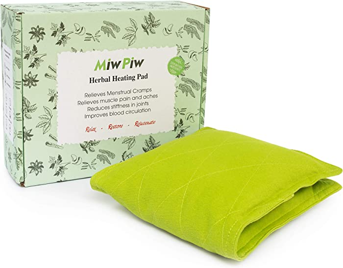 "Miw Piw Microwave Heating Pad for Cramps - Gift Box 14""x 6"" Bed Buddy Hot Therapy Relief Organic Herbal Bag Warmer Microwavable Moist Heat Pack Heated Bean Pillow Menstrual Stomach Back Neck Shoulder"