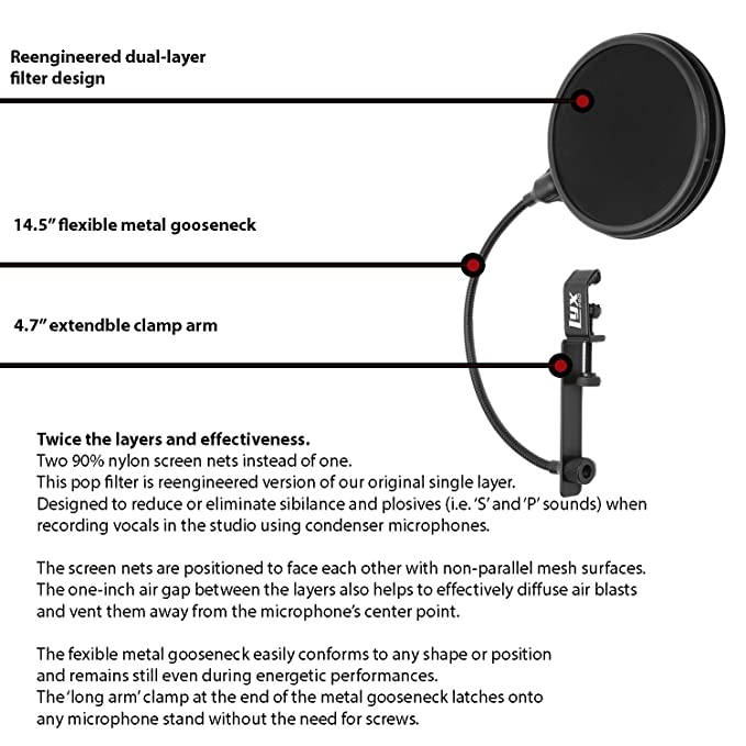 Amazon lyxpro mop 28 dual layer microphone pop filter with amazon lyxpro mop 28 dual layer microphone pop filter with flexible goozeneck for superior vocal performance pop shield musical instruments ccuart Images