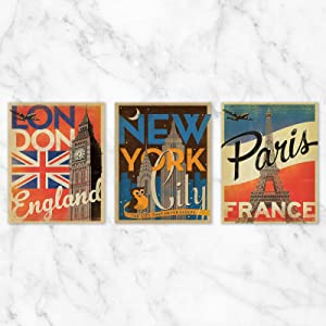 London, New York City, and Paris Travel Poster Wall Art - Set of 3-8x10 Prints on Linen Paper by Anderson Design Group