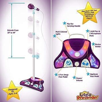 Little Pretender poco pretendiente l p ni/ños m/áquina de Karaoke con 2 micr/ófonos y Soporte Ajustable