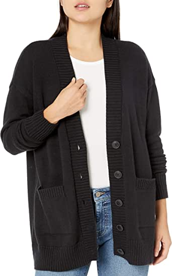 The Drop Women's Standard Carrie Oversized Button Front Patch Pocket Cardigan Sweater