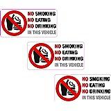 3x NO SMOKING manger boire dans ce véhicule Sticker vinyle imprimé étiquette Taxi
