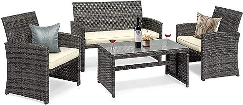 GOJOOASIS 4 Pieces Patio Furniture Set Rattan Wicker Outdoor Conversation Set