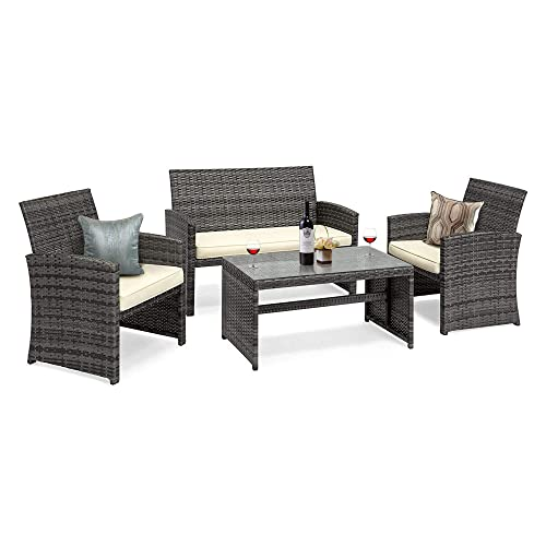 GOJOOASIS 4 Pieces Patio Furniture Set Rattan Wicker Outdoor Conversation Set
