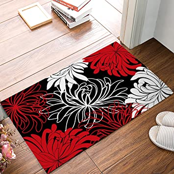 Daisy Floral Printed Red Black And White Non Slip Machine Washable Bathroom Kitchen Decor Rug Mat Welcome Doormat 23 6 L X 15 7 W