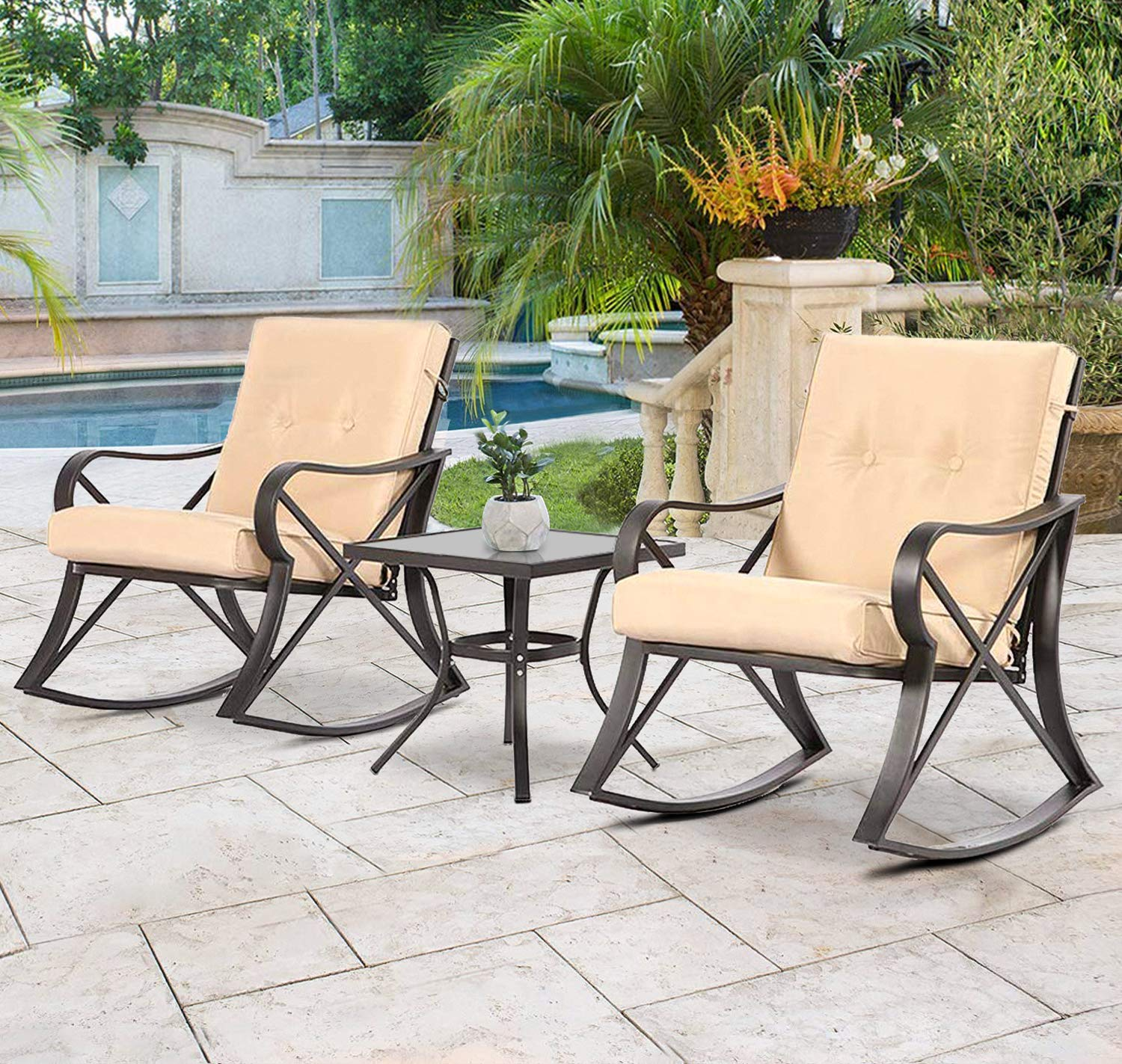 Solaura outdoor rocking chairs bistro set 3 piece black steel furniture with brown thickened cushion glass coffee table
