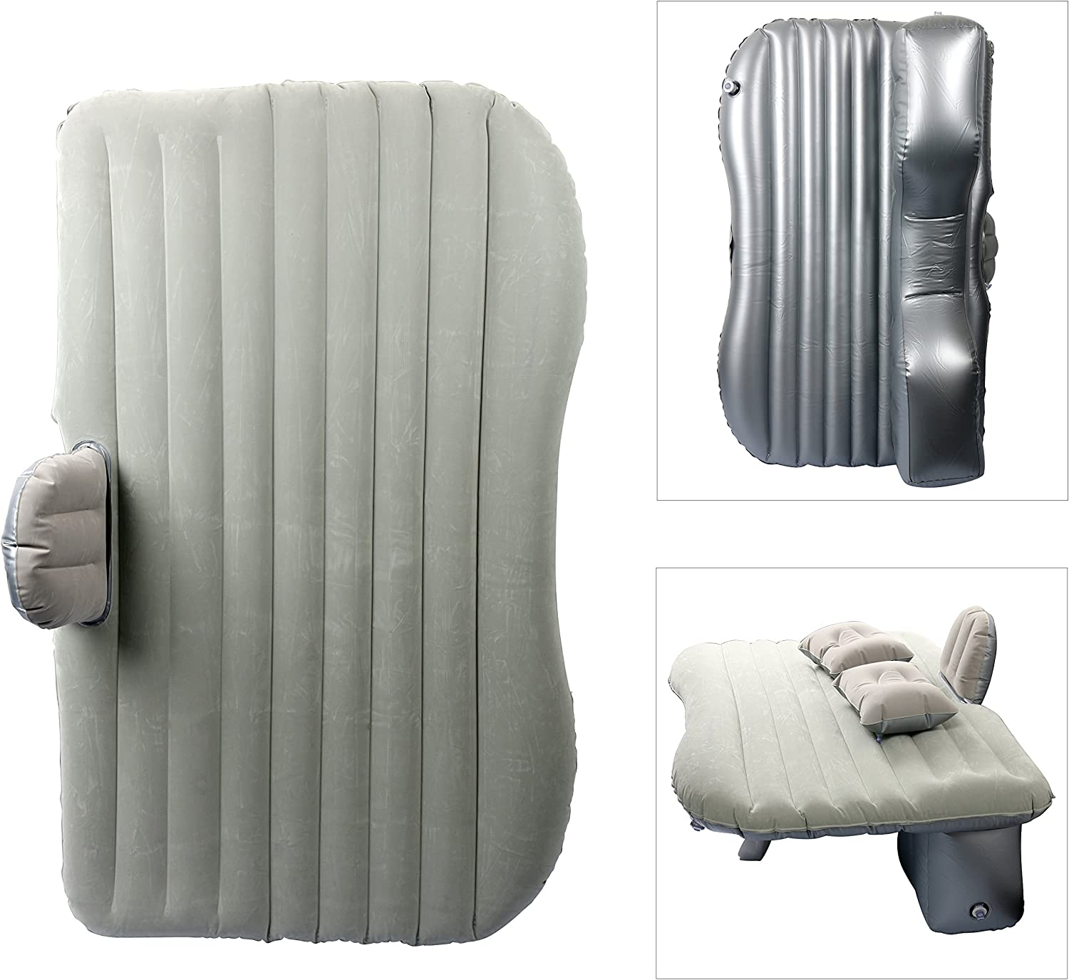 Silver YaeTact Car Travel Inflatable Mattress Inflatable Bed Camping Universal with Two Air Pillows Blue Silver Color in: Black