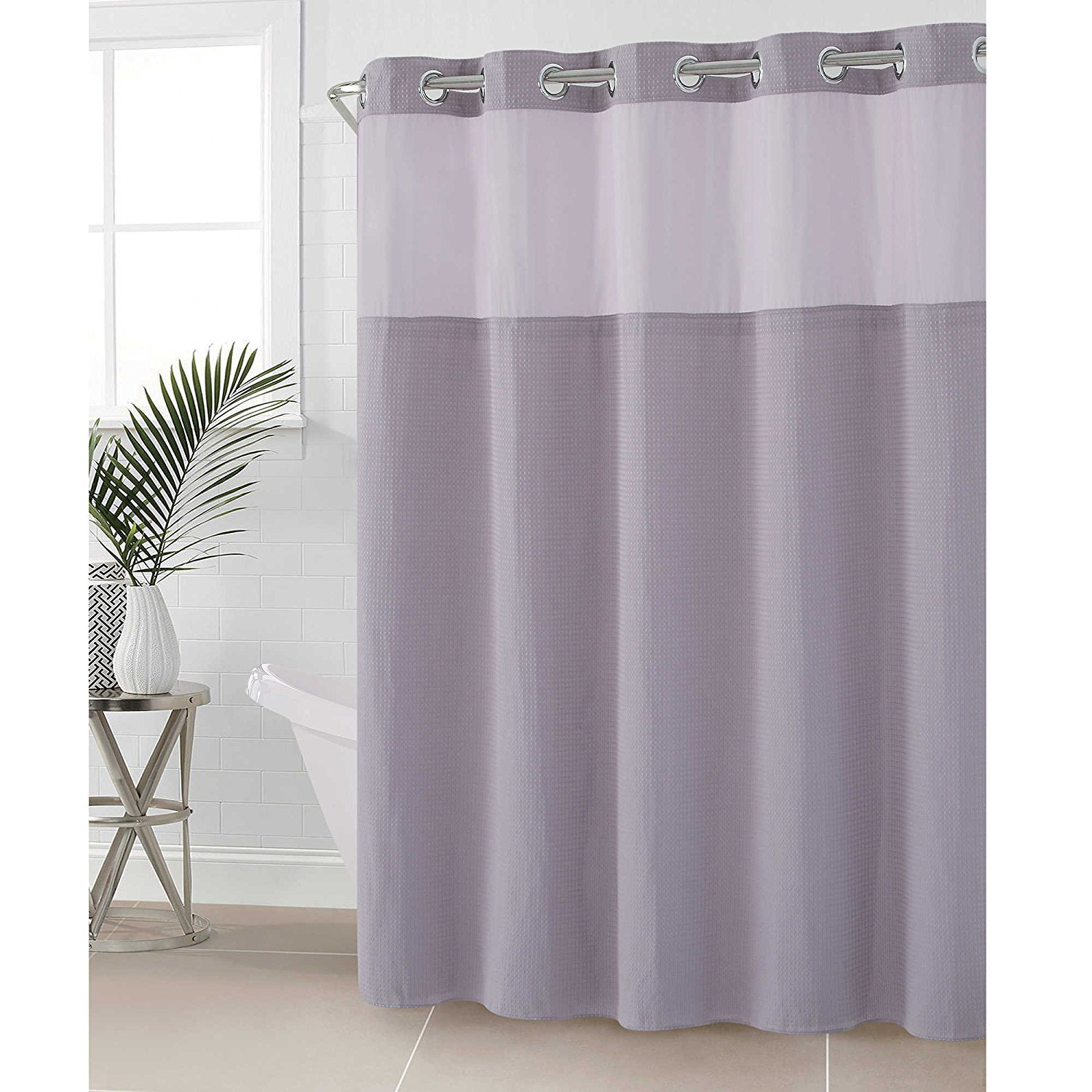 Hookless fabric shower curtain with built in liner taupe diamond pique - Amazon Com Hookless Hangis In Seconds Waffle Fabric Shower Curtain 71 X 74 Taupe Home Kitchen