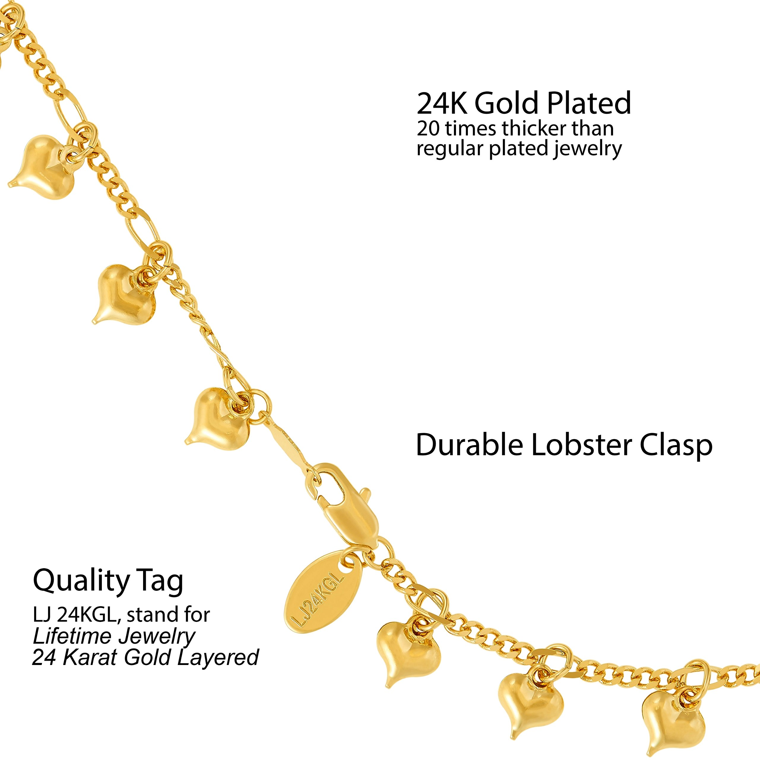 Lifetime Jewelry Anklets for Women and Teen Girls - 24K Gold Plated Chain with Dangling Hearts - Ankle Bracelet to Wear at Beach or Party - Cute Surfer Anklet - 9 10 and 11 inches (9) by Lifetime Jewelry (Image #4)