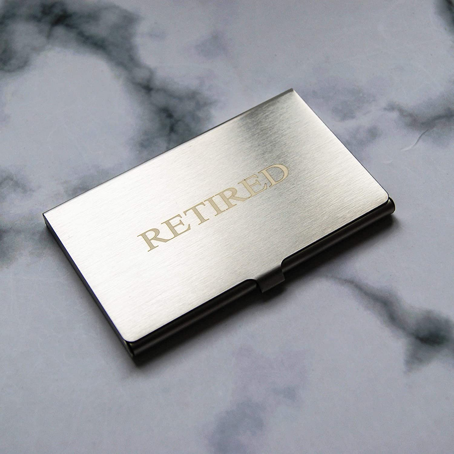 Friend Pack of 50//With Silver Stainless Steel Case Coworkers Colleague Employees Women Boss RXBC2011 Retired Business Cards Funny Retirement Gift For Retired Men