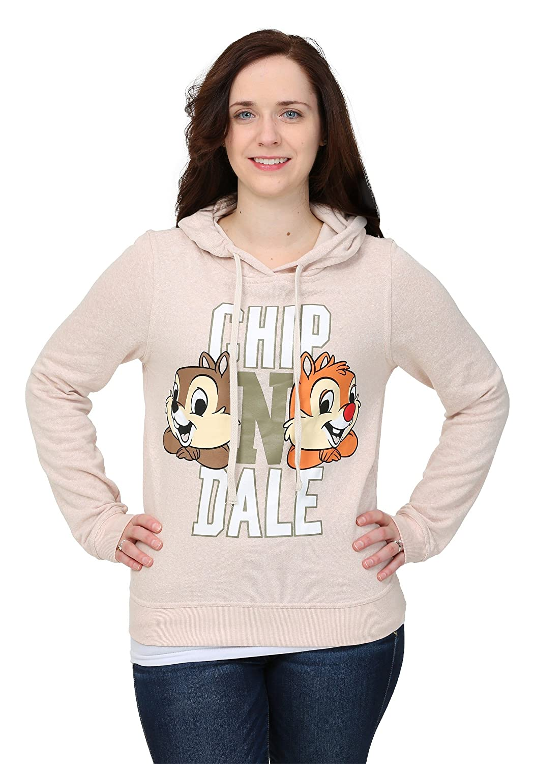 Chip N Dale Big Faces Snow Heather Juniors Hooded Sweatshirt Freeze Juniors