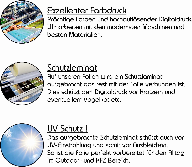 Spiegelstreifen Spiegel Aufkleber Folie Streifen Dekor Au/ßenspiegel R/ückspiegel Autoaufkleber Digitaldruck Waben D100 Neon Rot