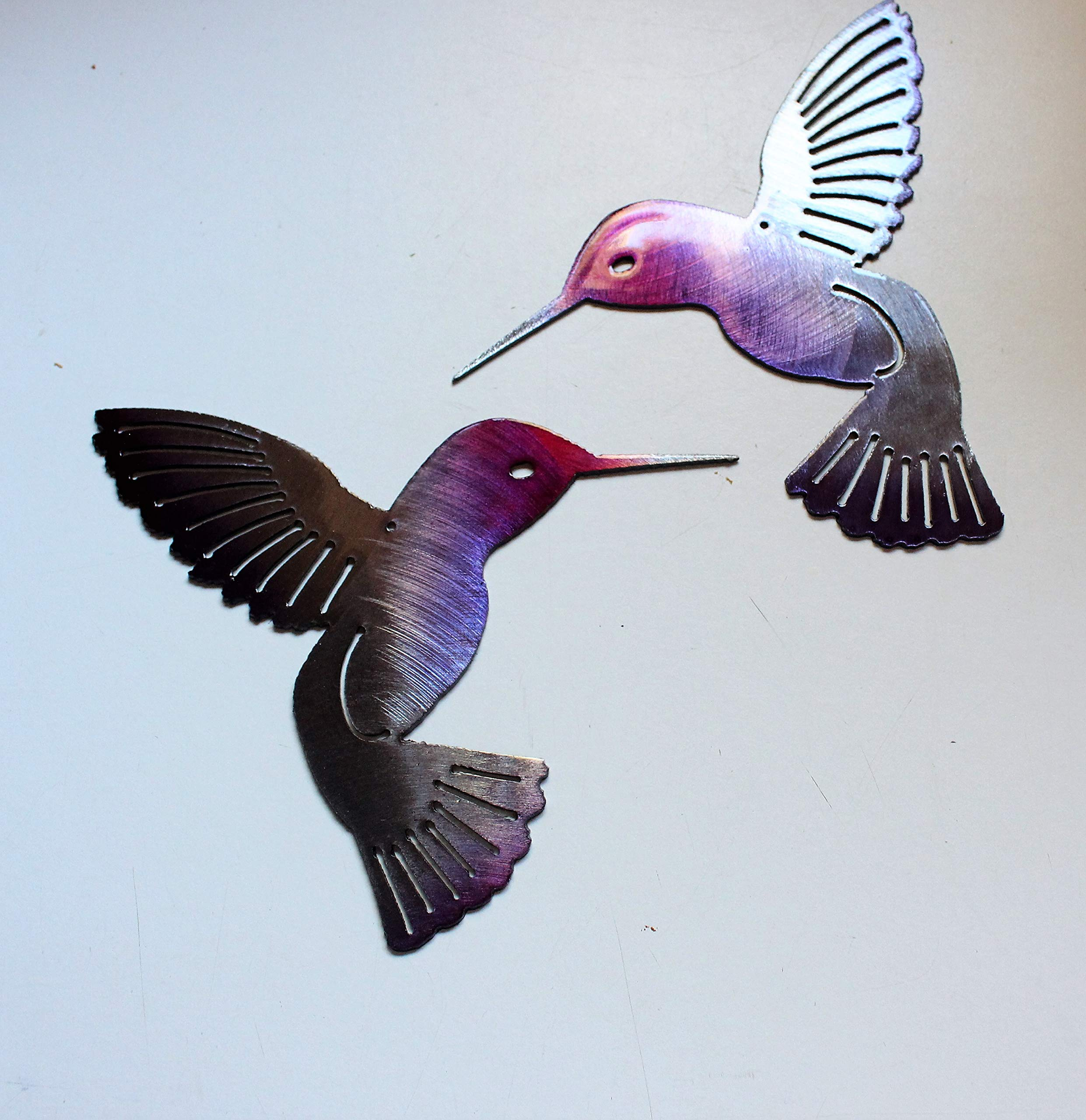 Hummingbird Fuchsia Pair Metal Wall Art Decor 6''