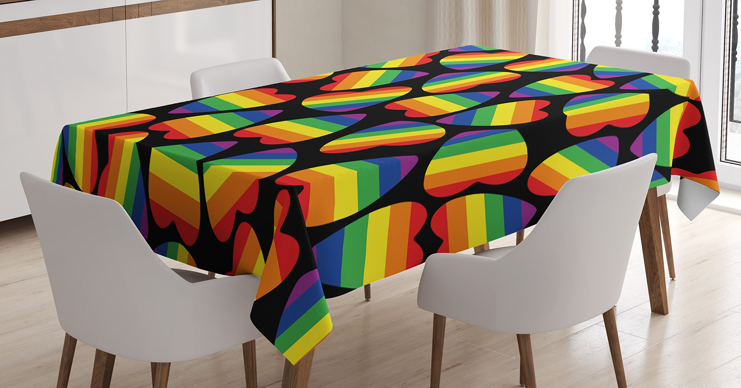 Ambesonne Pride Tablecloth, Rainbow Colored Striped Heart Shapes on Black Backdrop Gay Lesbian Love Parade Print, Dining Room Kitchen Rectangular Table Cover, 60 W X 84 L inches, Multicolor