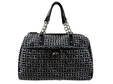 84527f966be1 Tommy Hilfiger Black White Satchel Handbag Bowler TH Logo Monogram