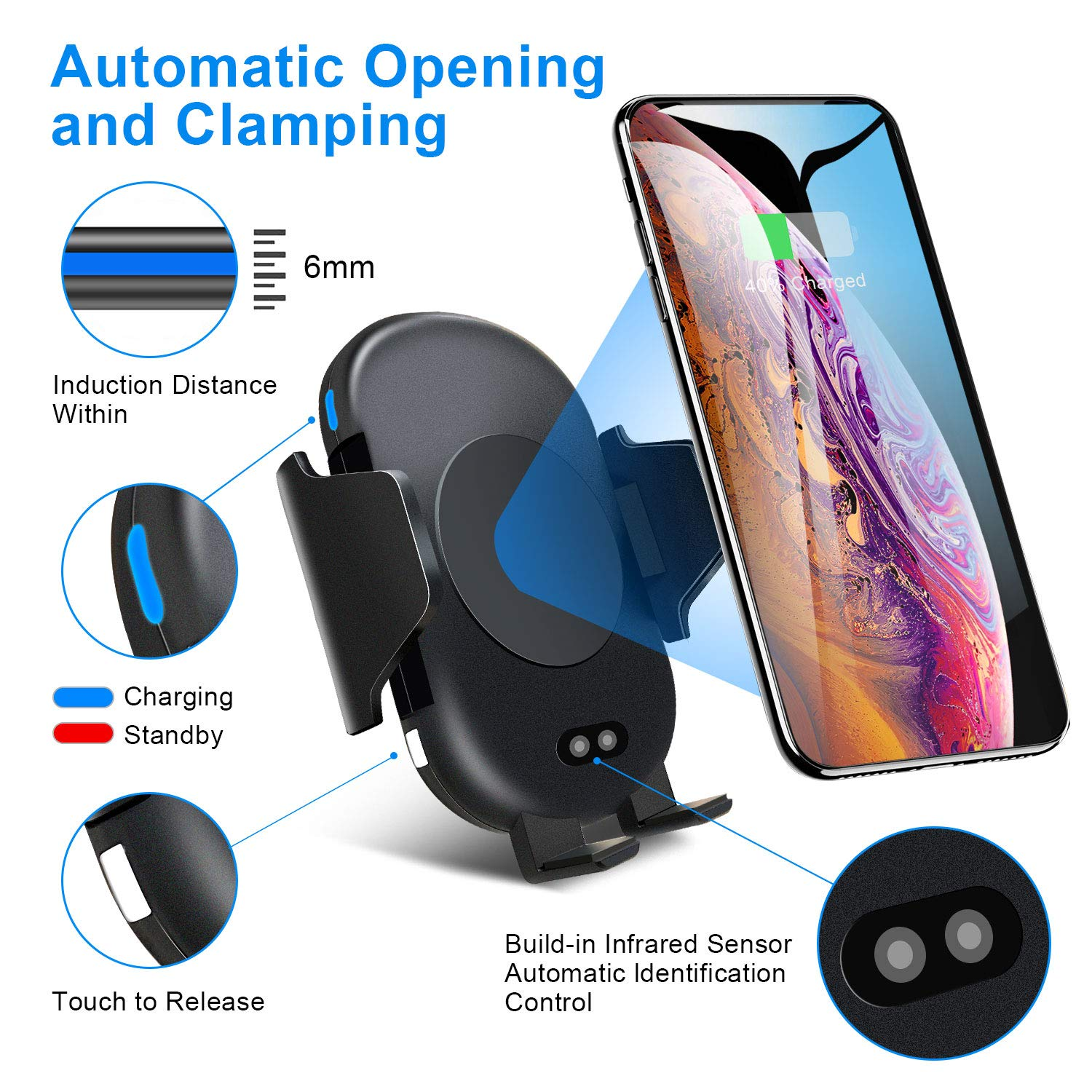 Samsung S10 S9 S8 Note9 Windshield Dashboard Air Vent Phone Mount Compatible with iPhone X Xs Max Xr 8 Wireless Car Charger Mount Infrared Automatic Clamping Qi 10W 7.5W Fast Charger car Mount