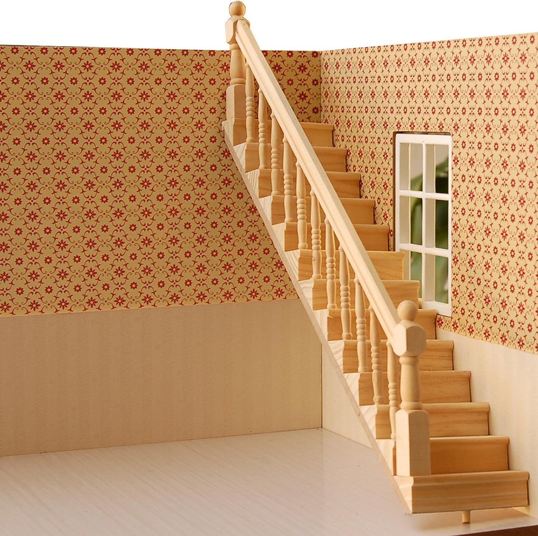 Escaleras de madera Shantan ropa de descanso para niñas de casa de muñecas de hasta muebles Toys Mini de seguridad para niños: Amazon.es: Hogar