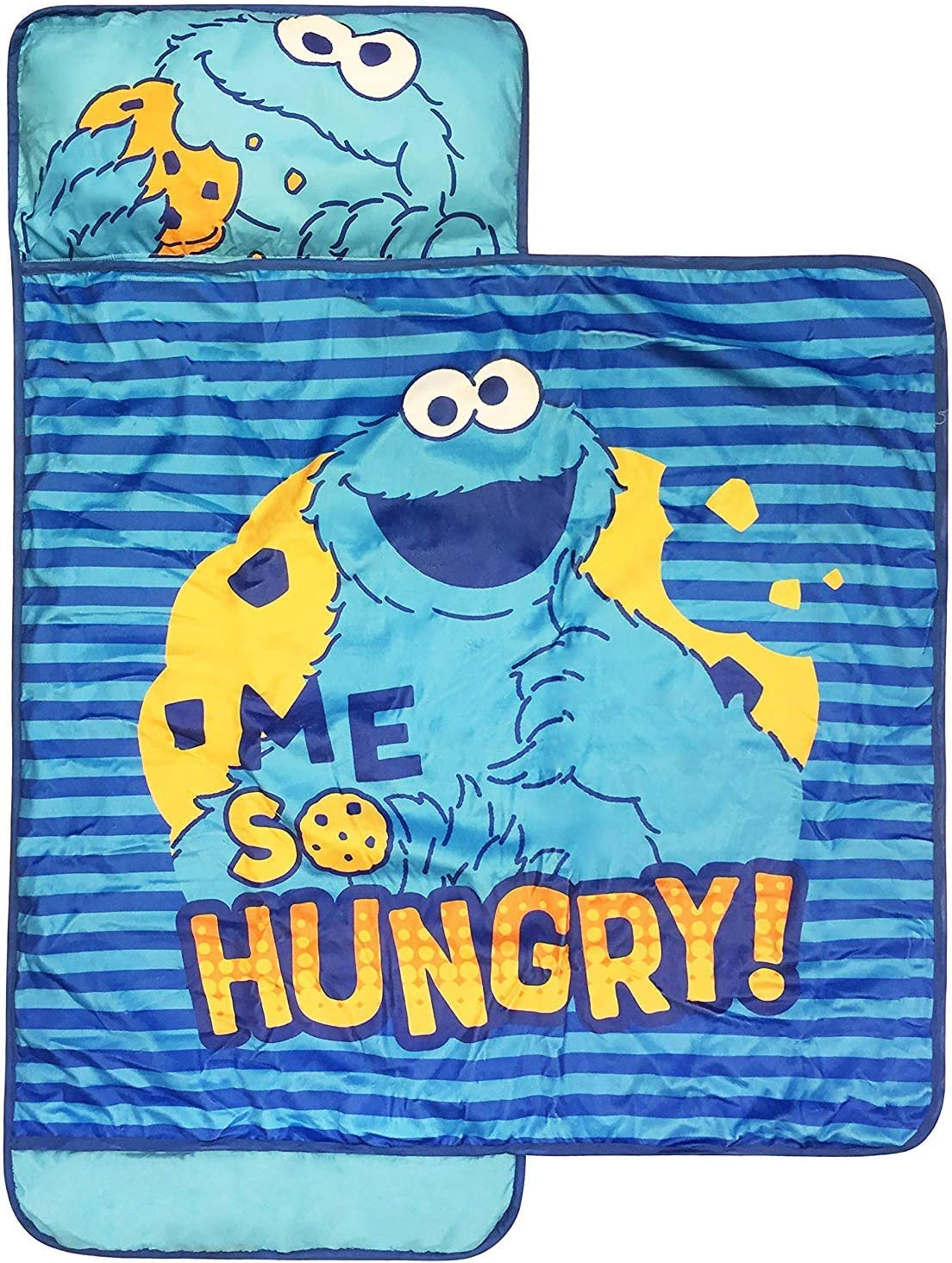Sesame Street Me So Hungry Nap Mat - Built-in Pillow and Blanket featuring Cookie Monster - Super Soft Microfiber Kids'/Toddler/Children's Bedding, Ages 3-7 (Official Sesame Street Product) [並行輸入品]