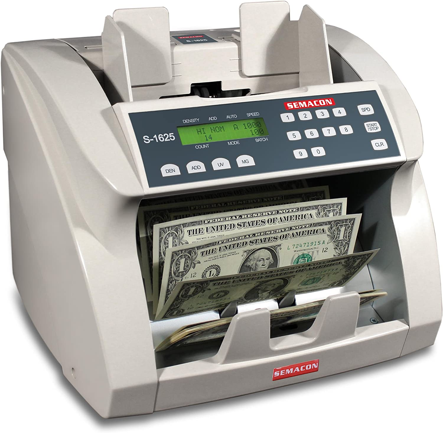 Semacon S-1625 Ultra High-Speed Premium Bank Grade Currency Counter with Ultraviolet and Magnetic Counterfeit Detection; Counting Mode Adding Mode and Memory; 1000//1200//1500//1800 Notes per Minute