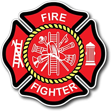 "Firefighter We Support The Red Line Reflective 6/"" Maltese Cross Decal Sticker"